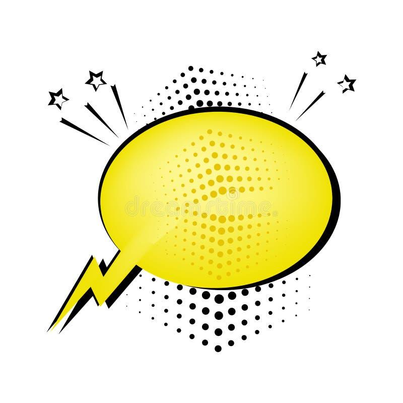 Κίτρινη λεκτική φυσαλίδα για το κείμενό σας Κωμικά υγιή αποτελέσματα στο λαϊκό ύφος τέχνης r διανυσματική απεικόνιση