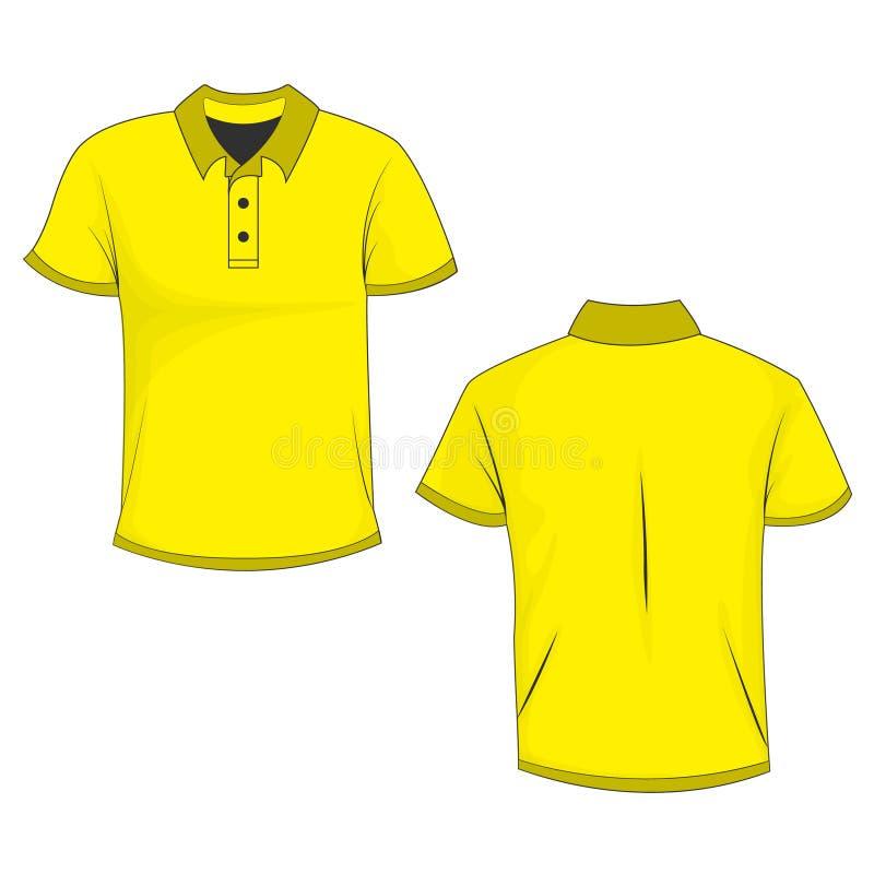 Κίτρινη μπλούζα πλαστό up/template πόλο, μπροστινή και πίσω άποψη, που απομονώνεται στο άσπρο υπόβαθρο απεικόνιση αποθεμάτων