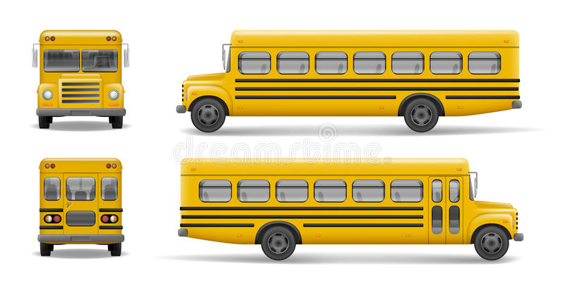 Κίτρινη μπροστινή, πίσω και πλάγια όψη σχολικών λεωφορείων Μεταφορά και μεταφορά οχημάτων, πίσω στο σχολείο Λεωφορείο Relistic απεικόνιση αποθεμάτων