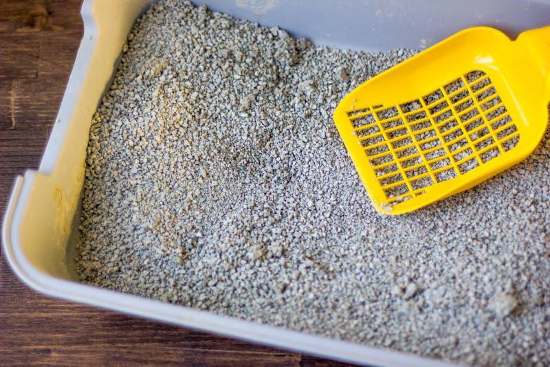 Κίτρινη πλαστική σέσουλα στο κατοικίδιο ζώο litterbox στοκ εικόνες με δικαίωμα ελεύθερης χρήσης