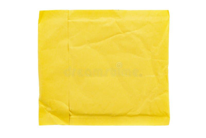 Κίτρινη συσκευασία ταχυδρομείου στοκ φωτογραφίες