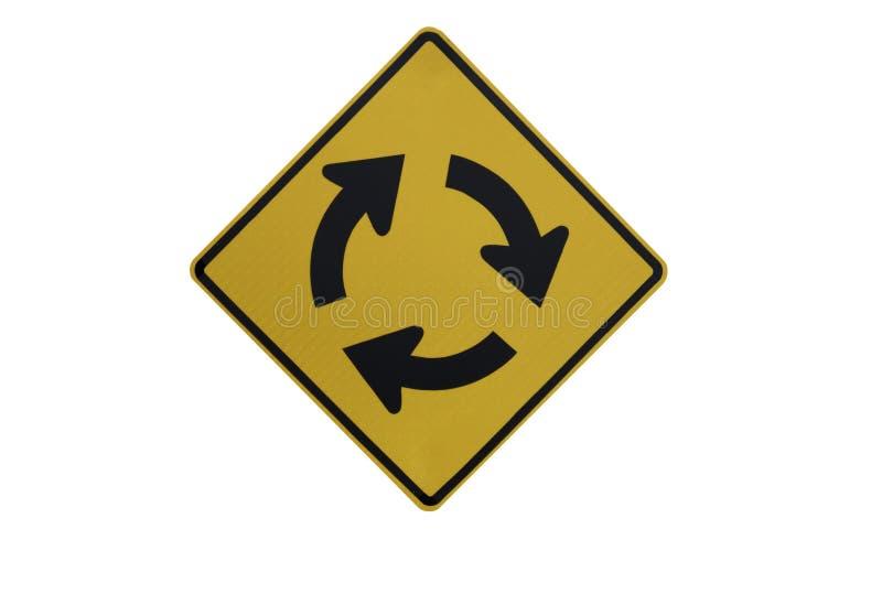 """Κίτρινη σωστή διασταύρωση κυκλικής κυκλοφορίας Signs† κυκλοφορίας """" που απομονώνεται στο άσπρο υπόβαθρο του αρχείου με το ψα στοκ εικόνες με δικαίωμα ελεύθερης χρήσης"""