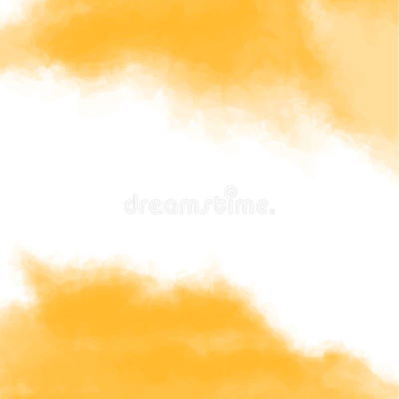 Κίτρινη σύσταση, αφηρημένο χρωματισμένο χέρι υπόβαθρο watercolor με το χάσμα - μεταξύ επίσης corel σύρετε το διάνυσμα απεικόνισης απεικόνιση αποθεμάτων