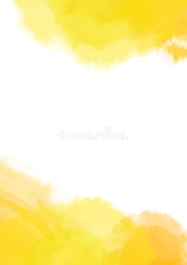 Κίτρινη σύσταση, αφηρημένο χρωματισμένο χέρι υπόβαθρο watercolor με το χάσμα - μεταξύ Copyspace επίσης corel σύρετε το διάνυσμα α διανυσματική απεικόνιση