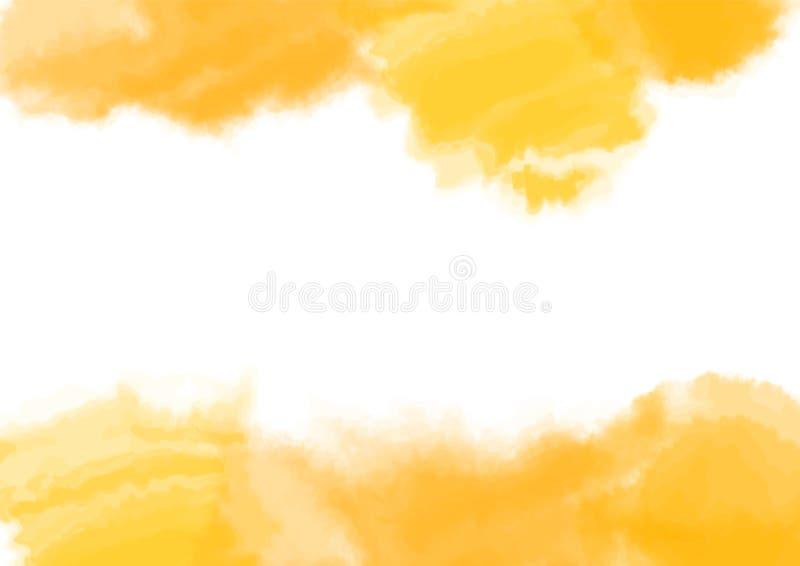 Κίτρινη σύσταση, αφηρημένο χρωματισμένο χέρι υπόβαθρο watercolor με το χάσμα - μεταξύ Copyspace επίσης corel σύρετε το διάνυσμα α απεικόνιση αποθεμάτων