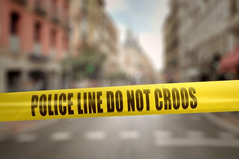 Κίτρινη ταινία γραμμών αστυνομίας με την αστυνομία Line Do Not Cross κειμένων στοκ εικόνες