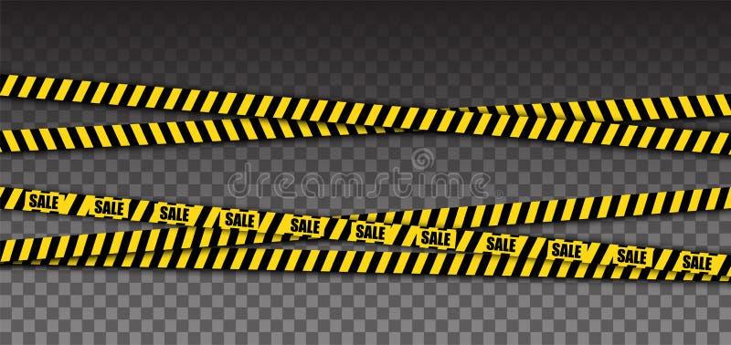 Κίτρινη ταινία προειδοποίησης αστυνομίας με το κείμενο πώλησης Στοιχείο εμβλημάτων πώλησης απομονωμένος διάνυσμα απεικόνιση αποθεμάτων