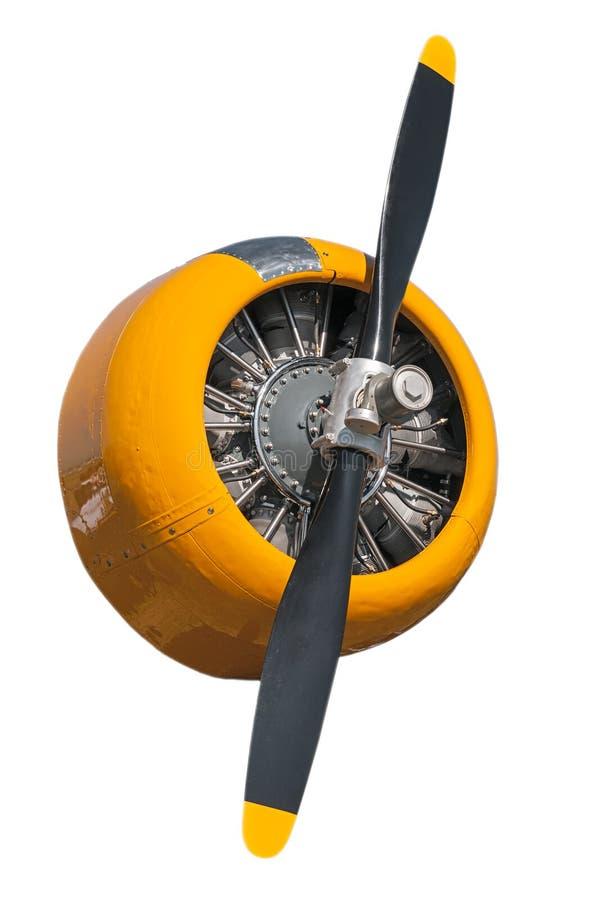 Κίτρινη AT-6 τεξανή μηχανή και προωστήρας στοκ εικόνες