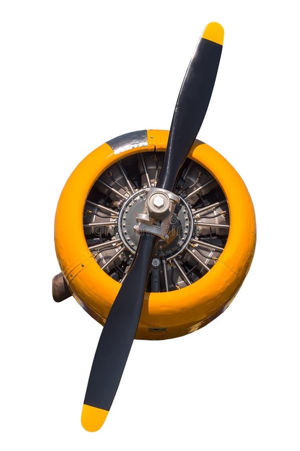 Κίτρινη AT-6 τεξανή μηχανή και προωστήρας στοκ φωτογραφία με δικαίωμα ελεύθερης χρήσης