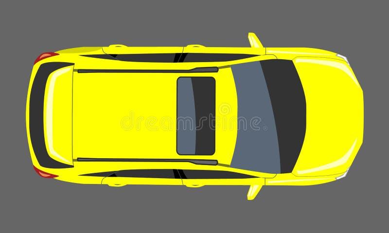 Κίτρινη τοπ άποψη αυτοκινήτων Επίπεδη και στερεά διανυσματική απεικόνιση σχεδίου ύφους χρώματος ελεύθερη απεικόνιση δικαιώματος