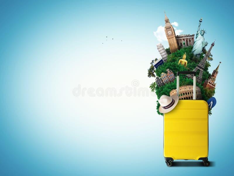 Κίτρινη τσάντα ταξιδιού με το παγκόσμιο ορόσημο απεικόνιση αποθεμάτων