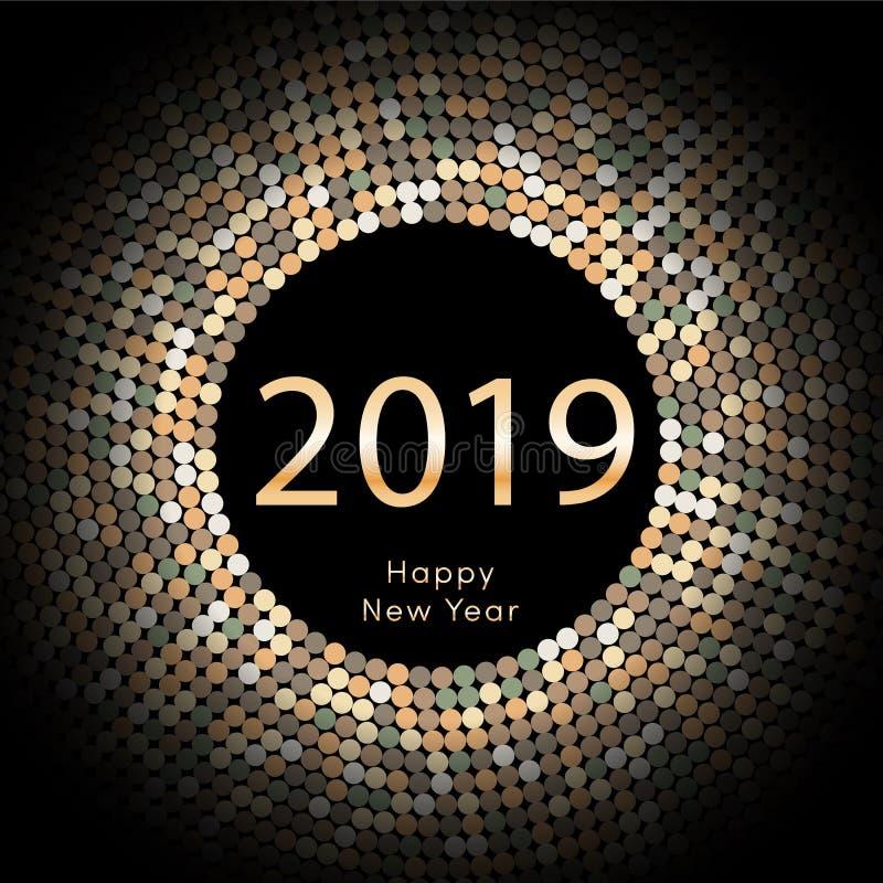 Κίτρινη χαιρετώντας αφίσα έτους 2019 discoball νέα Δίσκος κύκλων καλής χρονιάς 2019 με το μόριο Ακτινοβολήστε γκρίζο σχέδιο σημεί διανυσματική απεικόνιση