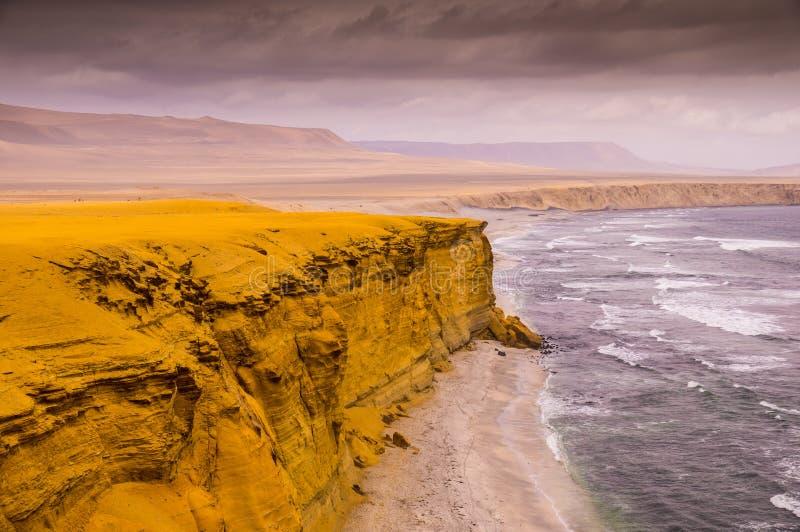 Κίτρινοι απότομοι βράχοι στην εθνική επιφύλαξη Paracas στο Περού στοκ εικόνα
