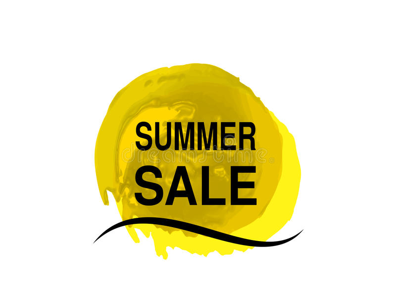 Κίτρινος ήλιος με το κύμα θάλασσας Σύμβολο ήλιων Watercolor grunge Ετικέτα θερινής προσφοράς Σύμβολο πώλησης Βρώμικο σημείο απεικόνιση αποθεμάτων