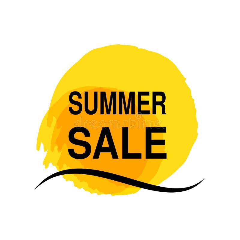 Κίτρινος ήλιος με το κύμα θάλασσας Σύμβολο ήλιων Watercolor grunge Ετικέτα θερινής προσφοράς Σύμβολο πώλησης Βρώμικο σημείο ελεύθερη απεικόνιση δικαιώματος