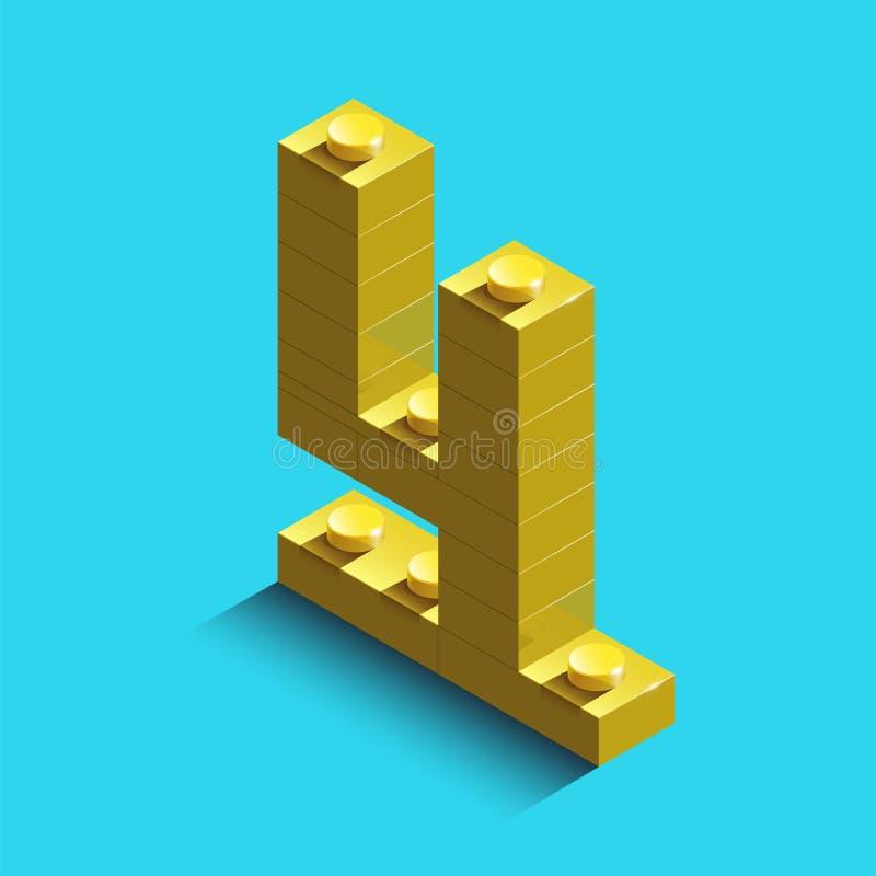 Κίτρινος αριθμός μηδέν από τα τούβλα lego κατασκευαστών στο μπλε υπόβαθρο τρισδιάστατο lego αριθμός μηδέν απεικόνιση αποθεμάτων