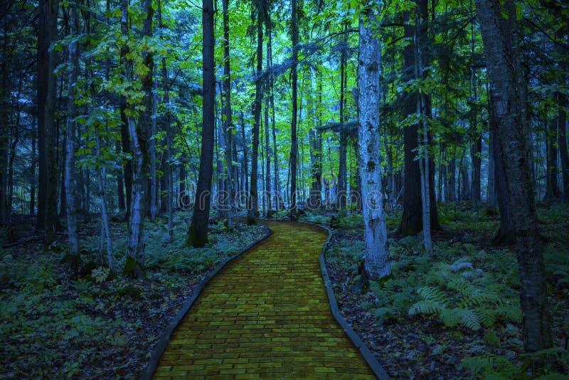 Κίτρινος δρόμος τούβλου που οδηγεί μέσω ενός απόκοσμου σκοτεινού δάσους στοκ εικόνα