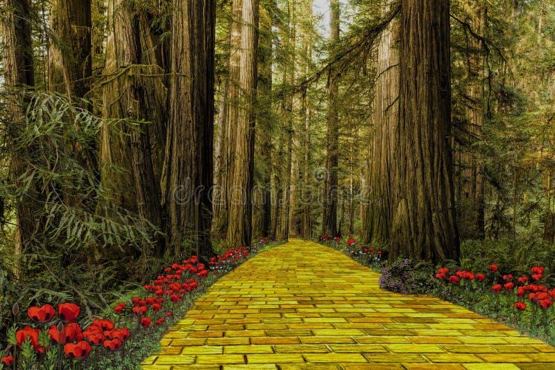 Κίτρινος δρόμος τούβλου που οδηγεί μέσω ενός δάσους στοκ εικόνες