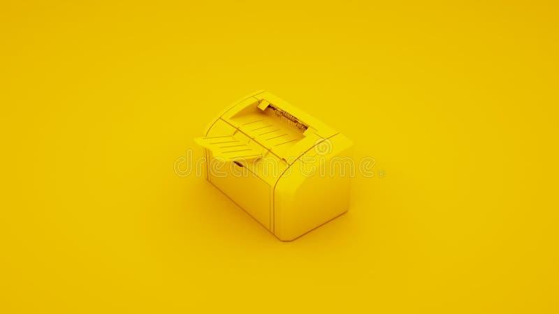 Κίτρινος εκτυπωτής γραφείων τρισδιάστατη απεικόνιση διανυσματική απεικόνιση