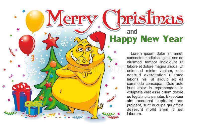 Κίτρινος κάπρος Χριστουγέννων ελεύθερη απεικόνιση δικαιώματος