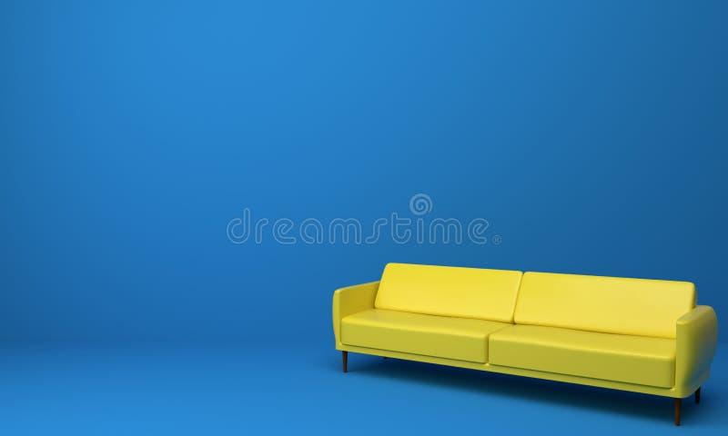 Κίτρινος καναπές στο μπλε εσωτερικό σχέδιο δωματίων στοκ εικόνα με δικαίωμα ελεύθερης χρήσης