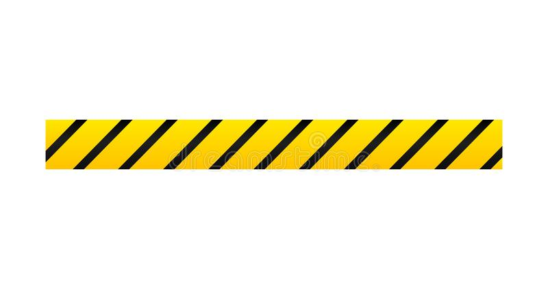 Κίτρινος με τη μαύρη γραμμή αστυνομίας ή την ταινία κινδύνου, προφυλακτήρας Διανυσματική απεικόνιση που απομονώνεται στην άσπρη α απεικόνιση αποθεμάτων