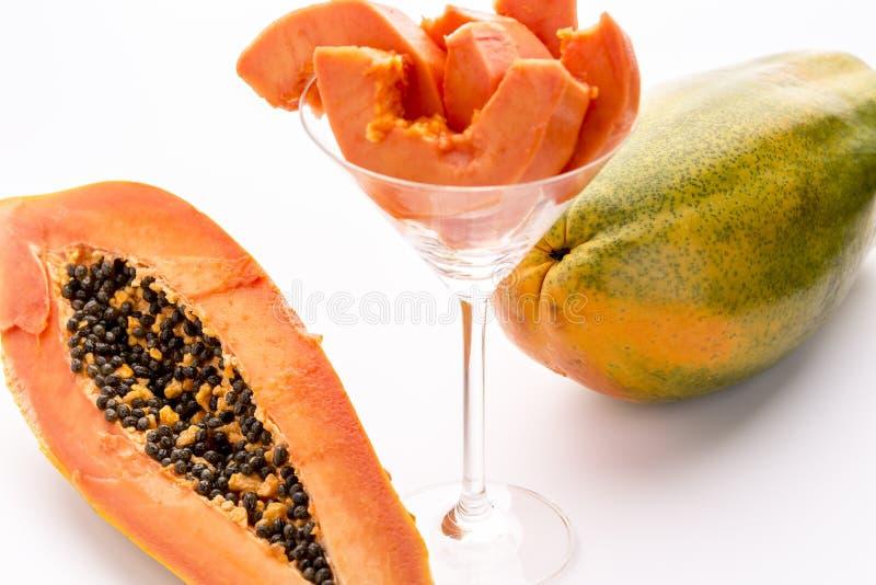 Κίτρινος, πορτοκαλής και πράσινος - τα Papaya φρούτα στοκ εικόνες
