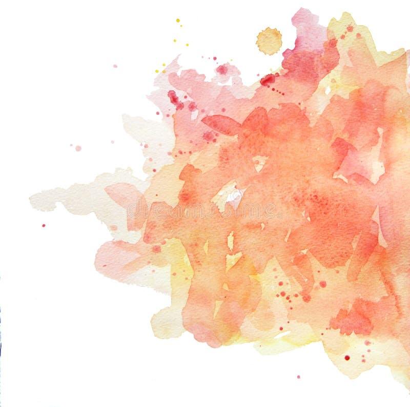 Κίτρινος-ροζ κρητιδογραφιών σημείων Watercolor στοκ εικόνες με δικαίωμα ελεύθερης χρήσης