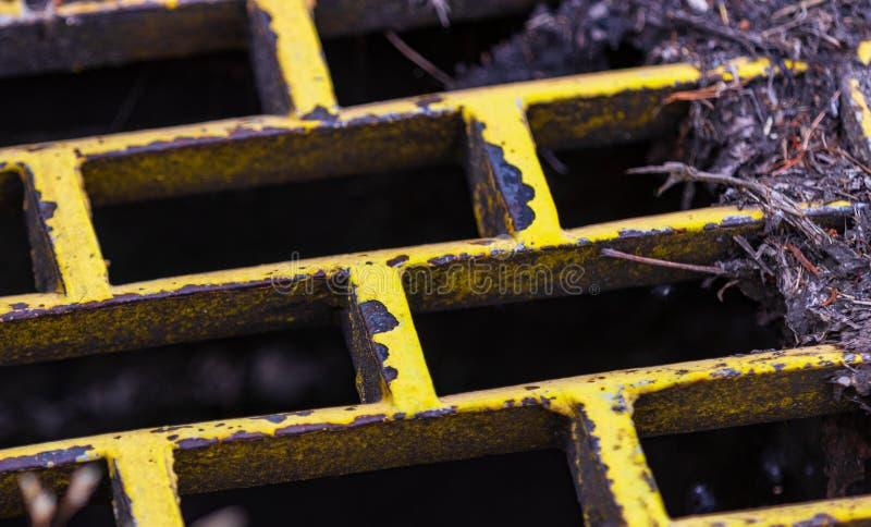 Κίτρινος σκουριασμένος αγωγός θύελλας σιδήρου με τα ξηρούς φύλλα και τους κλαδίσκους στοκ εικόνες