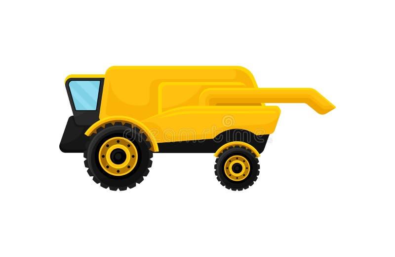 Κίτρινος συνδυάστε τη θεριστική μηχανή γεωργικά μηχανήματα που seeder η άνοιξη Μεγάλο όχημα καλλιέργειας Επίπεδο διανυσματικό στο απεικόνιση αποθεμάτων