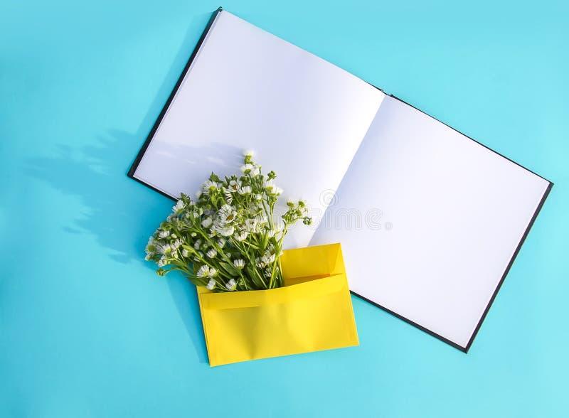 Κίτρινος φάκελος εγγράφου με τα μικρά άσπρα chamomile λουλούδια κήπων και κενό σημειωματάριο στο ανοικτό μπλε υπόβαθρο Εορταστικό στοκ εικόνες με δικαίωμα ελεύθερης χρήσης