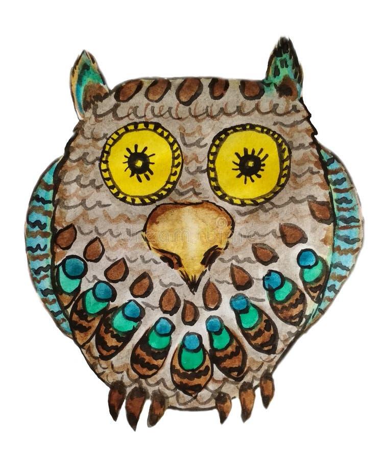 Κίτρινος-eyed κουκουβάγια με τα φωτεινά φτερά διανυσματική απεικόνιση
