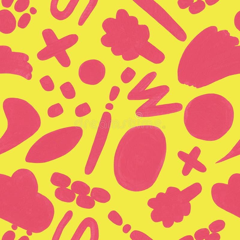 Κίτρινο άνευ ραφής σχέδιο με το χέρι που σύρεται doodle απεικόνιση αποθεμάτων
