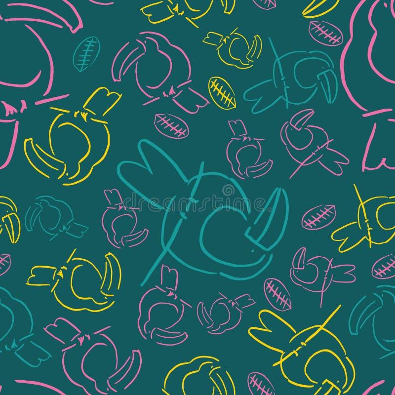 Κίτρινο άνευ ραφής σχέδιο υποβάθρου πουλιών γραμμών tucan διανυσματική απεικόνιση