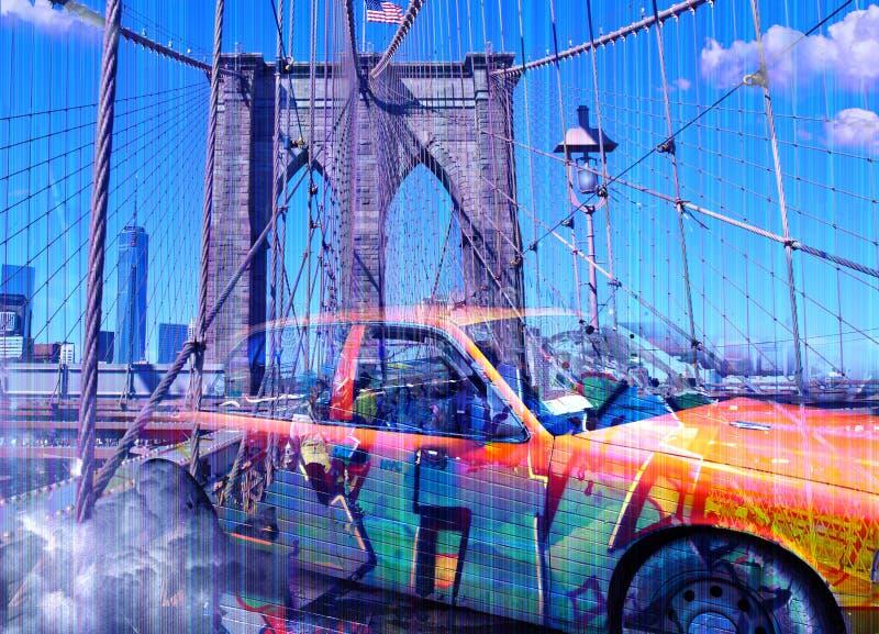 Κίτρινο αμάξι γέφυρα Μπρούκλιν διανυσματική απεικόνιση
