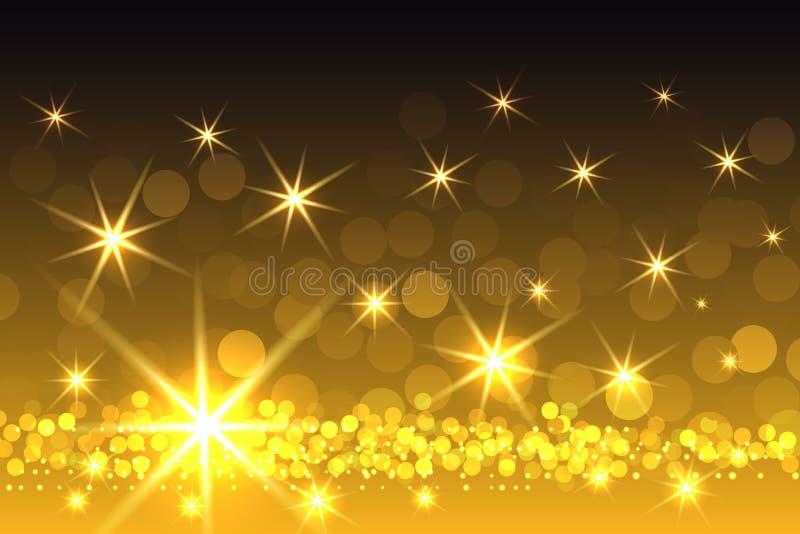 Κίτρινο λαμπιρίζοντας υπόβαθρο Χριστουγέννων Starburst διανυσματική απεικόνιση