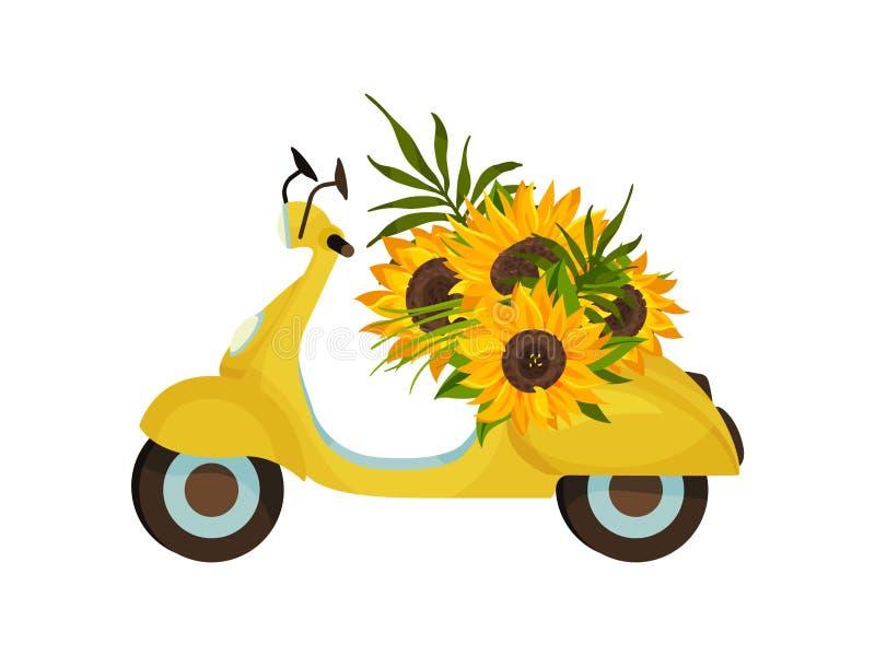 Κίτρινο αναδρομικό μοτοποδήλατο E διανυσματική απεικόνιση