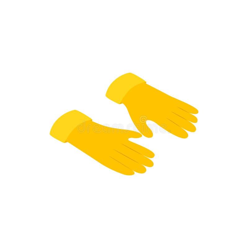 Κίτρινο λαστιχένιο εικονίδιο γαντιών, isometric τρισδιάστατο ύφος ελεύθερη απεικόνιση δικαιώματος