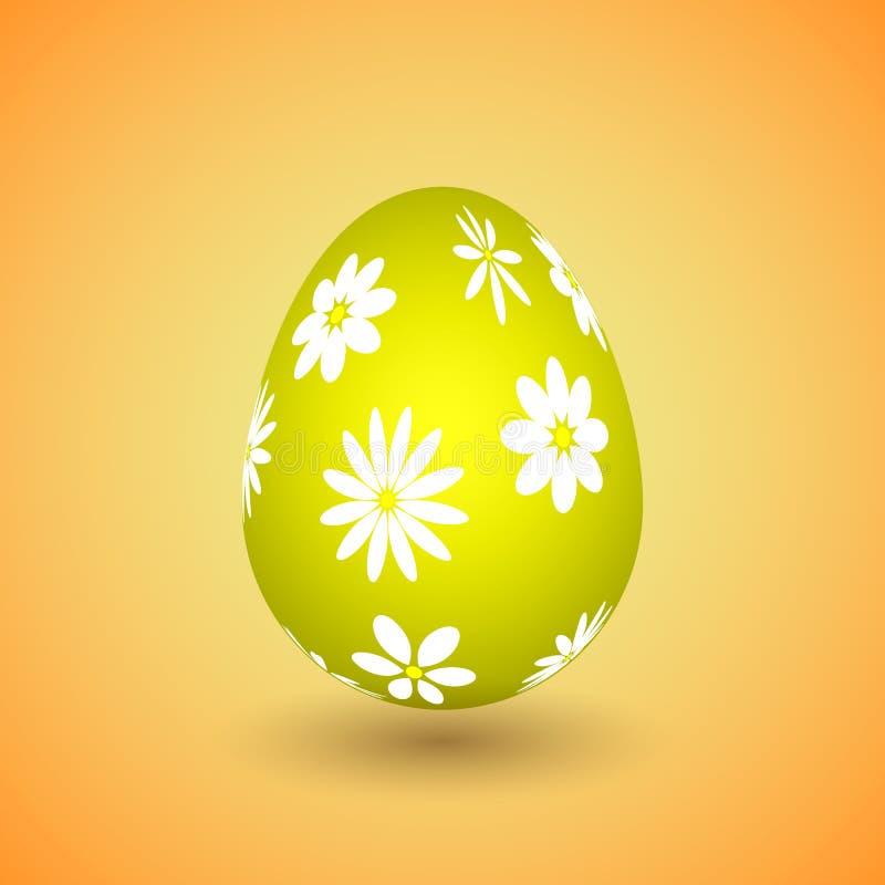 Κίτρινο αυγό Πάσχας με τα λουλούδια στοκ εικόνα