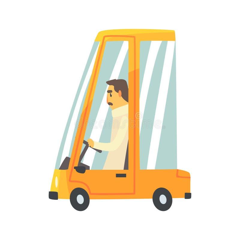 Κίτρινο αυτοκίνητο κινούμενων σχεδίων με τη διανυσματική απεικόνιση οδηγών απεικόνιση αποθεμάτων