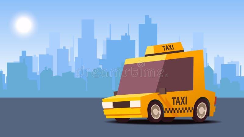 Κίτρινο αυτοκίνητο ταξί στο υπόβαθρο τοπίων πόλεων Ορισμένη IsoFlat διανυσματική απεικόνιση απεικόνιση αποθεμάτων