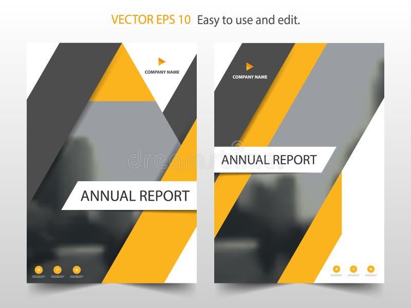 Κίτρινο αφηρημένο διάνυσμα προτύπων σχεδίου ετήσια εκθέσεων φυλλάδιων τριγώνων Infographic αφίσα περιοδικών επιχειρησιακών ιπτάμε διανυσματική απεικόνιση