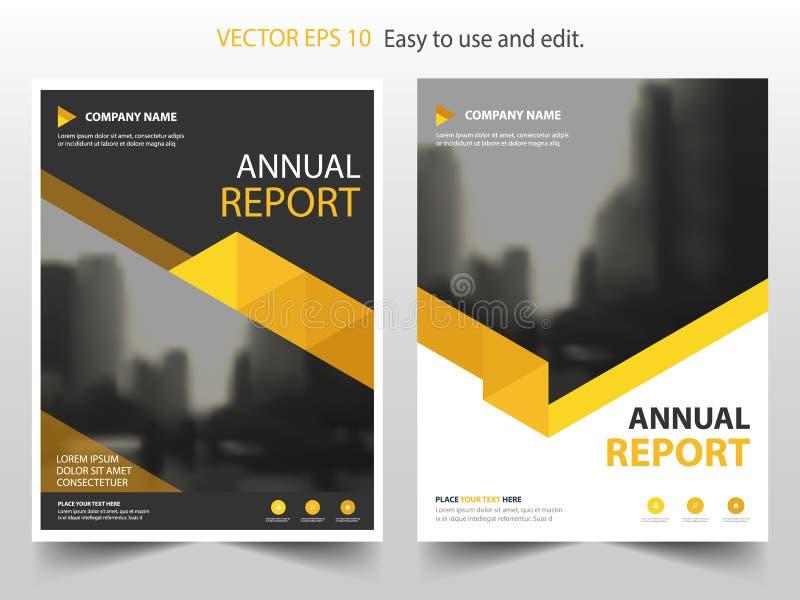 Κίτρινο αφηρημένο διάνυσμα προτύπων σχεδίου φυλλάδιων ετήσια εκθέσεων τριγώνων Infographic αφίσα περιοδικών επιχειρησιακών ιπτάμε ελεύθερη απεικόνιση δικαιώματος