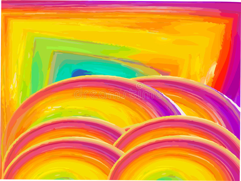 Κίτρινο αφηρημένο τετράγωνο κύκλων στοκ εικόνες