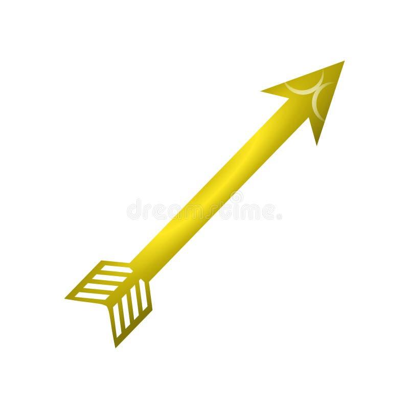κίτρινο βέλος στο άσπρο υπόβαθρο διανυσματική απεικόνιση
