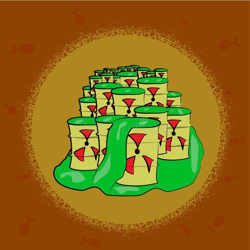 Κίτρινο βαρέλι με το δηλητηριώδες σχέδιο αποβλήτων ραδιενεργό μεταλλικό κουτί με την όξινη διακόσμηση τοξικός χημικός κίνδυνος το ελεύθερη απεικόνιση δικαιώματος