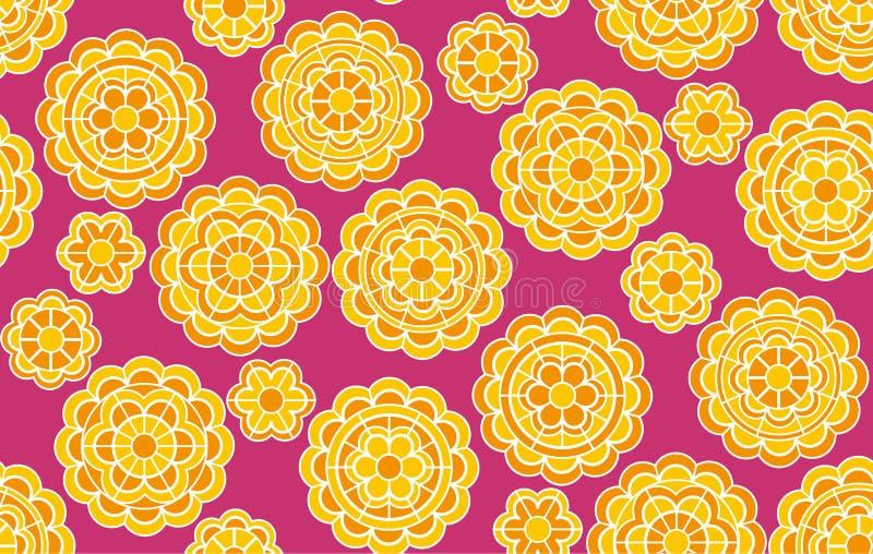 Κίτρινο γεωμετρικό floral σχέδιο στο ινδικό ύφος ελεύθερη απεικόνιση δικαιώματος