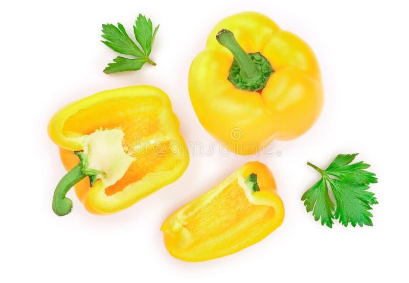 Κίτρινο γλυκό πιπέρι κουδουνιών που απομονώνεται στο άσπρο υπόβαθρο r r στοκ φωτογραφία