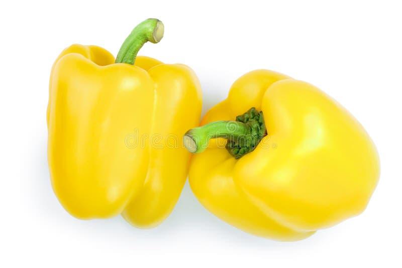 Κίτρινο γλυκό πιπέρι κουδουνιών που απομονώνεται στο άσπρο backgro Τοπ όψη Επίπεδος βάλτε στοκ φωτογραφίες με δικαίωμα ελεύθερης χρήσης