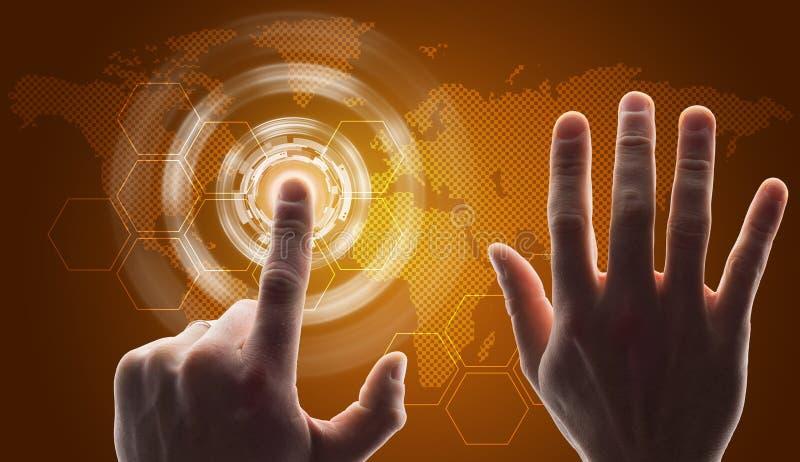 Κίτρινο εικονικό κουμπί συμπίεσης χεριών στοκ φωτογραφίες με δικαίωμα ελεύθερης χρήσης